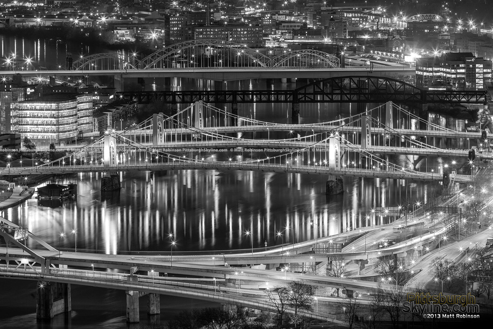 Black and White Pittsburgh Bridges