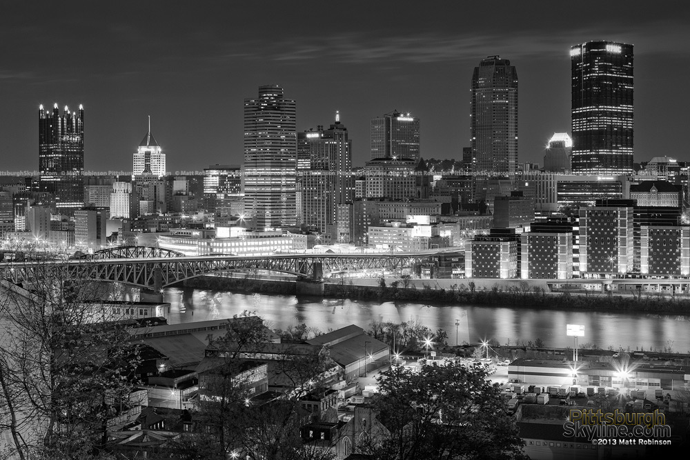 Black and White Pittsburgh Skyline from the Arlington Avenue