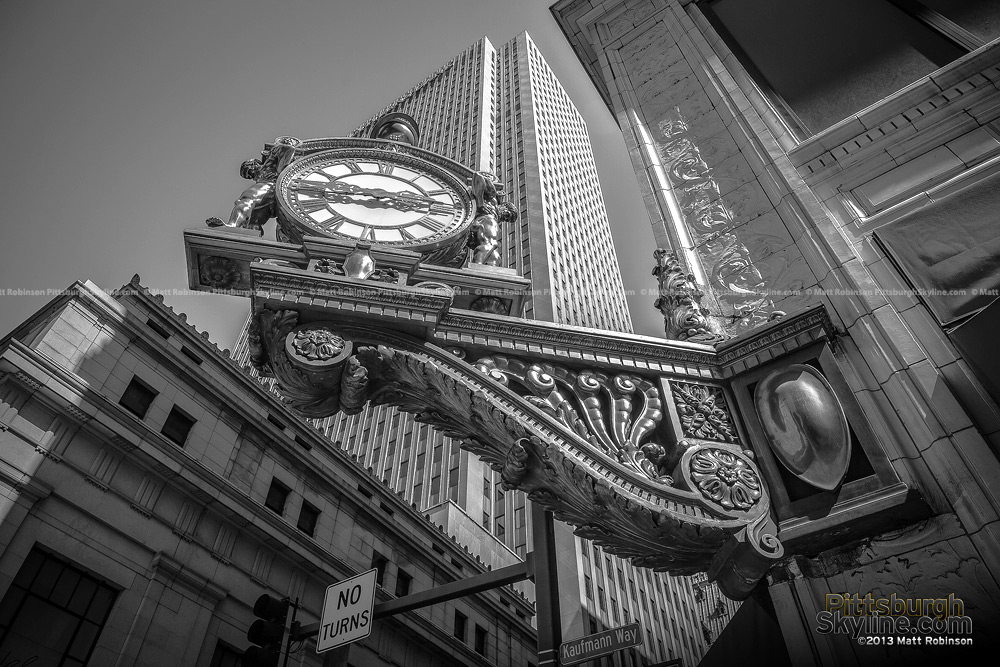 Black and White Pittsburgh Kaufmann's Clock