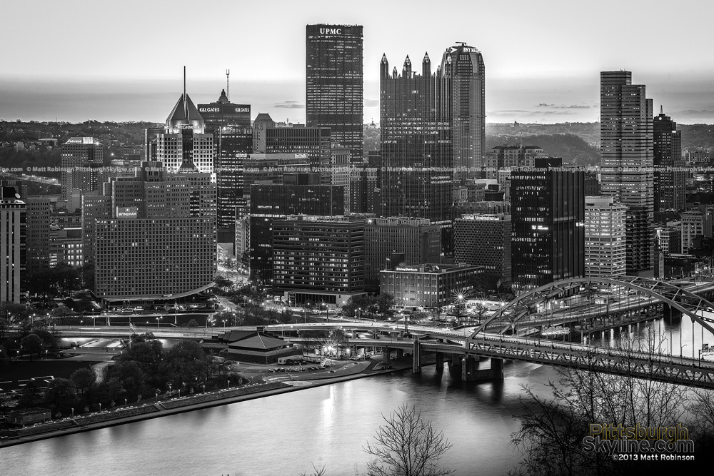 Black and White morning City of Pittsburgh