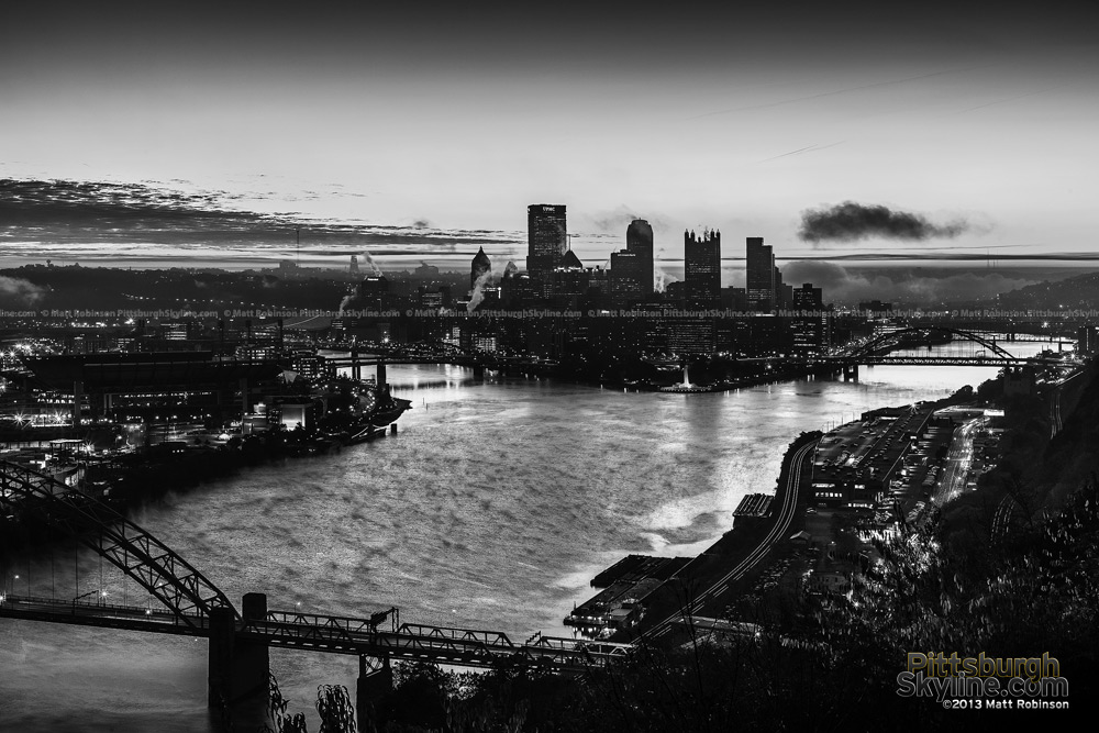 Black and White Pittsburgh Sunrise from West End Overlook