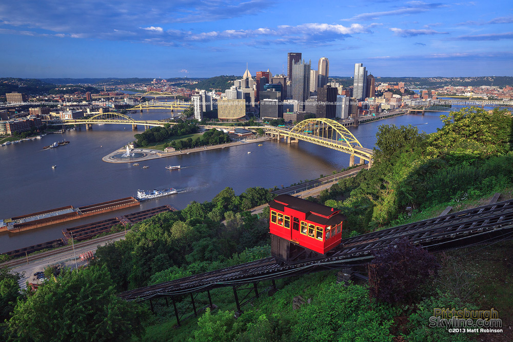 Duquense Incline with a view of downtown Pittsburgh