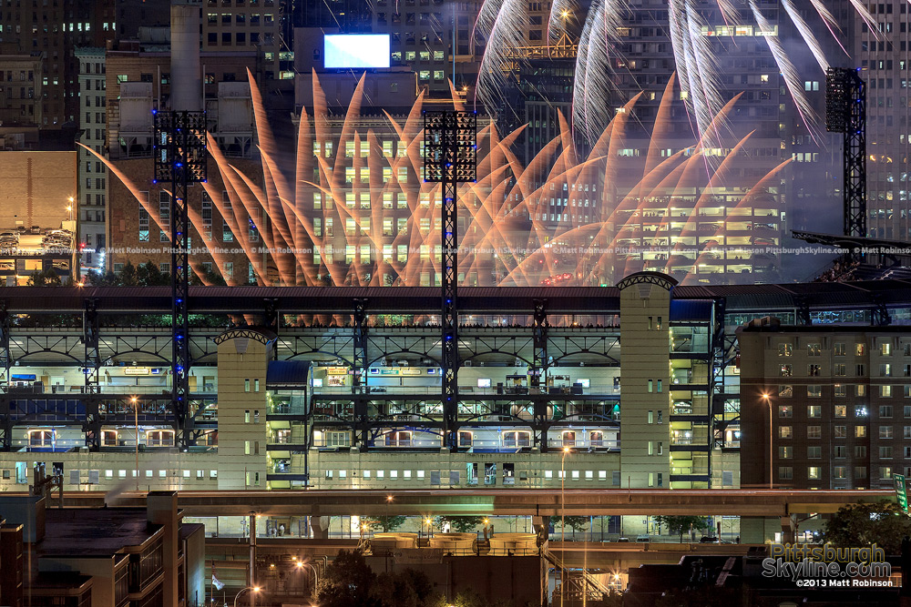 Feathery fireworks over PNC Park