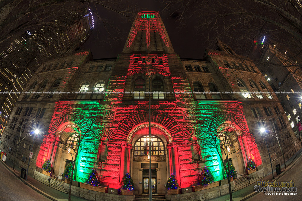 Christmas Colors on the Allegheny Courthouse on Grant Street