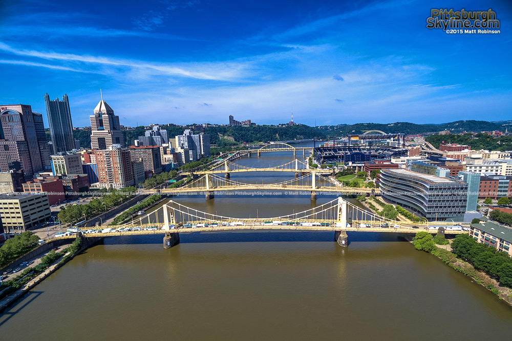 Aerial of the Three Sisters Bridges in Pittsburgh
