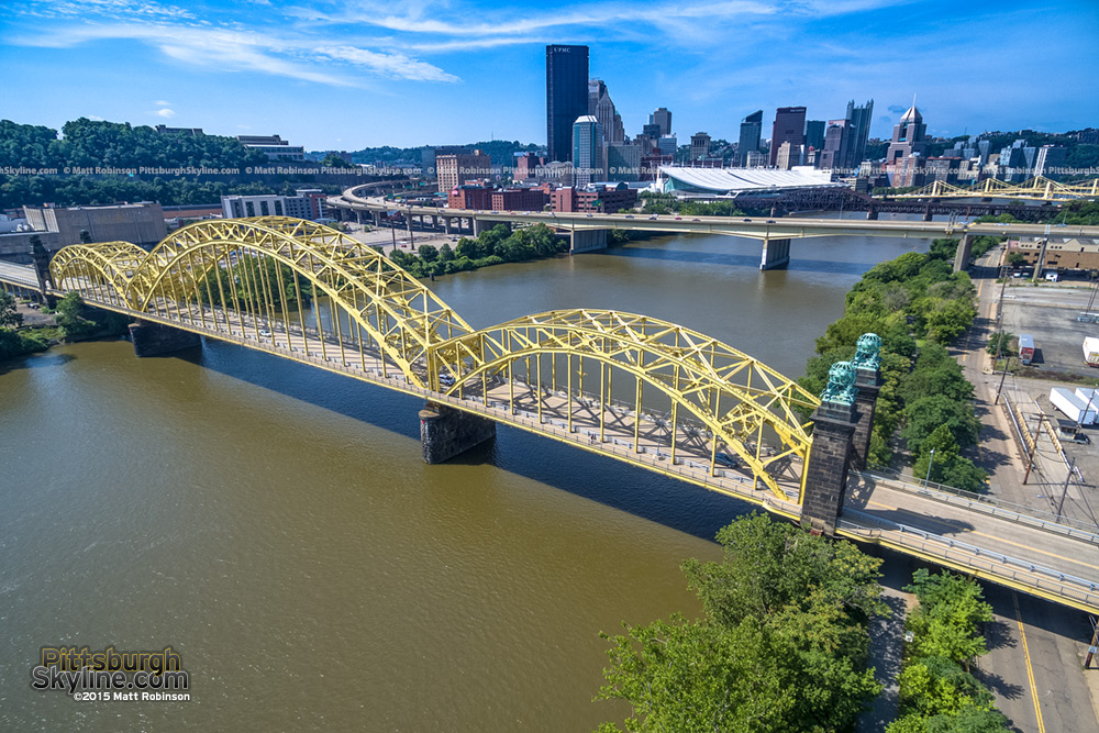 Aerial over the Sixteenth Street bridge on the Allegheny River in Pittsburgh