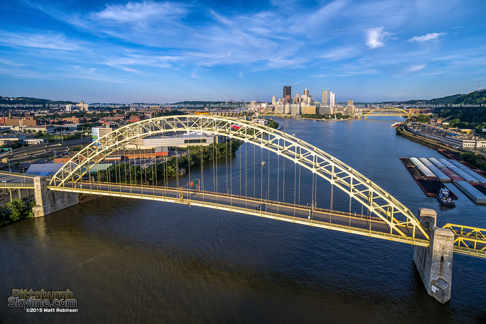 Aerial over the West End Bridge with downtown Pittsburgh