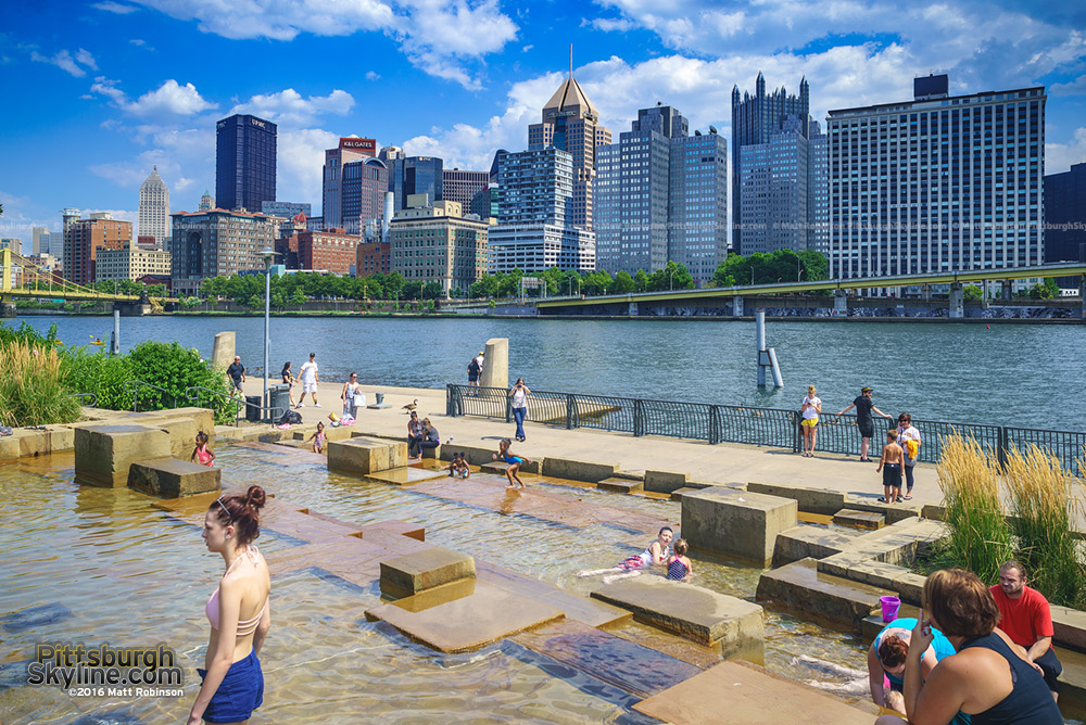 The Water Steps along the Three Rivers Heritage Trail with downtown Pittsburgh Skyline