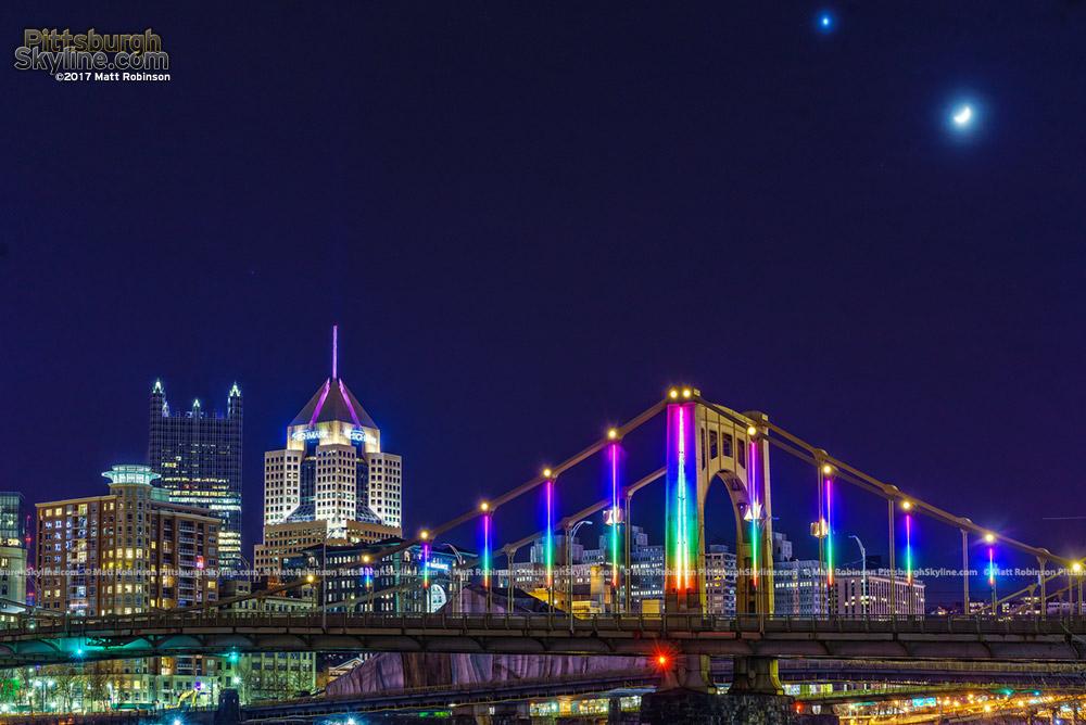 Cresent moon and Rainbow LED lights on the 9th Street Bridge