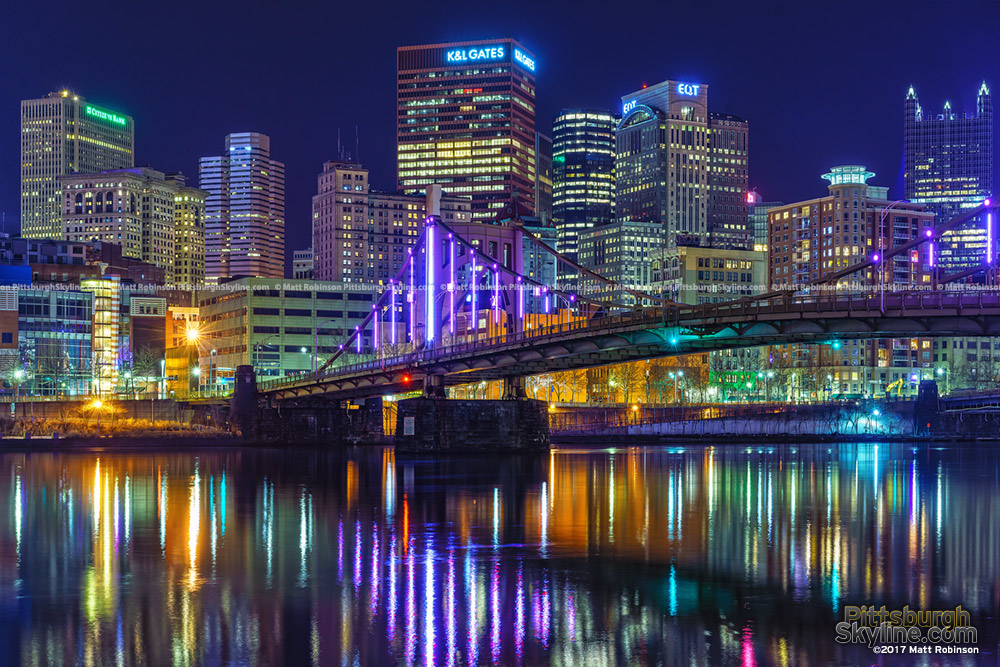 Downtown reflects in the Allegheny River with the Rachel Carson Bridge