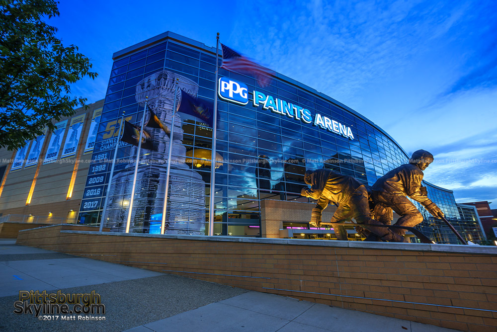 PPG Paints Arena at night