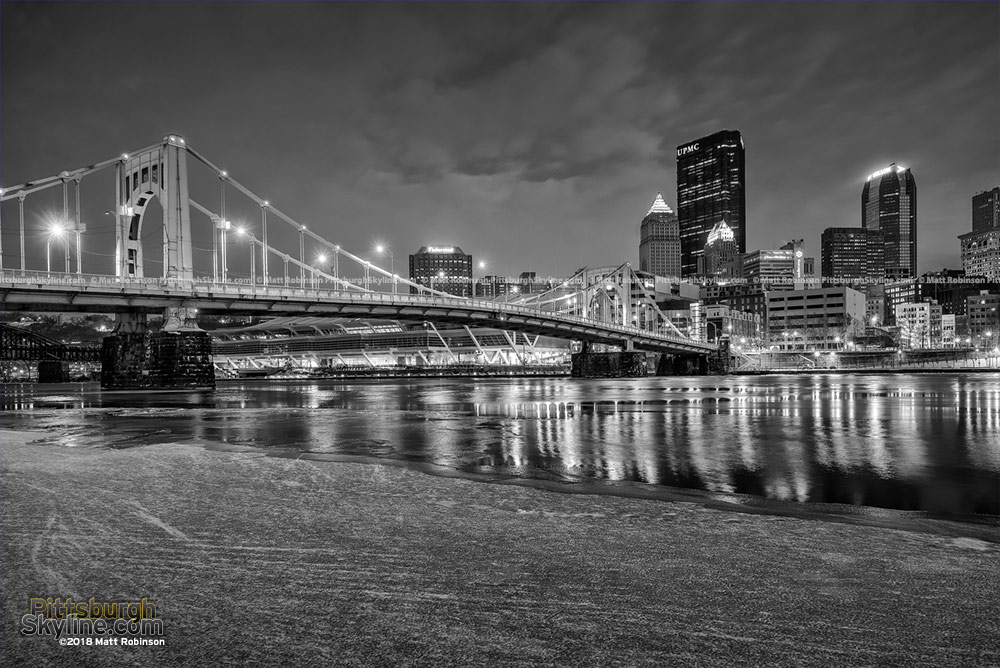 Downtown Pittsburgh Black and White winter 2018