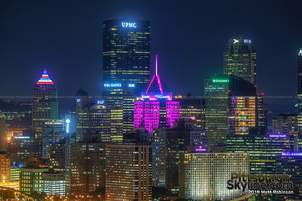 Pittsburgh buildings illuminated in pink