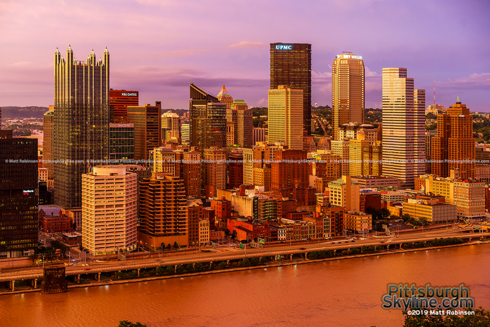 Golden sunset Pittsburgh from Mt Washington