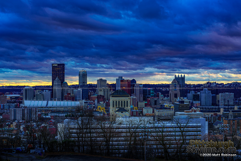 Turbulent clouds over Pittsburgh at sunset from Fineview