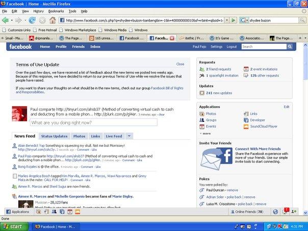 Screenshot of Facebook reverts TOS