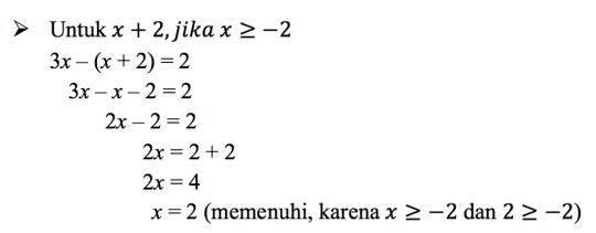 Persamaan Nilai Mutlak Satu Variabel Matematika