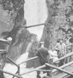 1920s waterfalls drop below men woman boy and girl on wood bridges  [ 3840 x 2160 Pixel ]