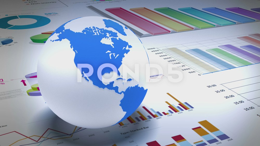 medium resolution of 4k rotating earth model on the finance pie charts and business trend diagrams footage 67829638
