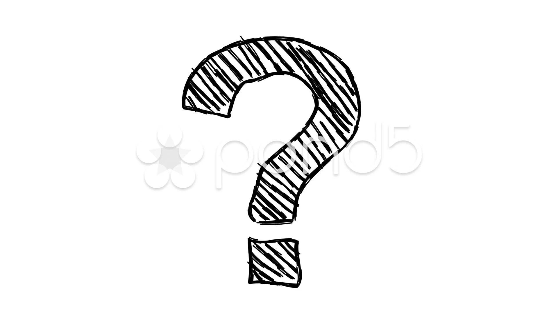 Vector Hand Drawn Question Mark In Clouds Concept Background