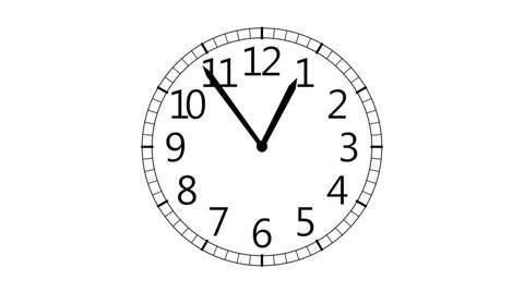 Animated clock counting down 12 hours, seamless loop