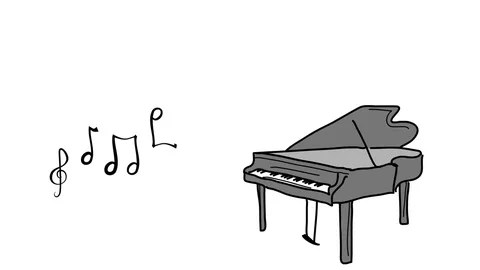 Animated Whiteboard style animation of piano and musical