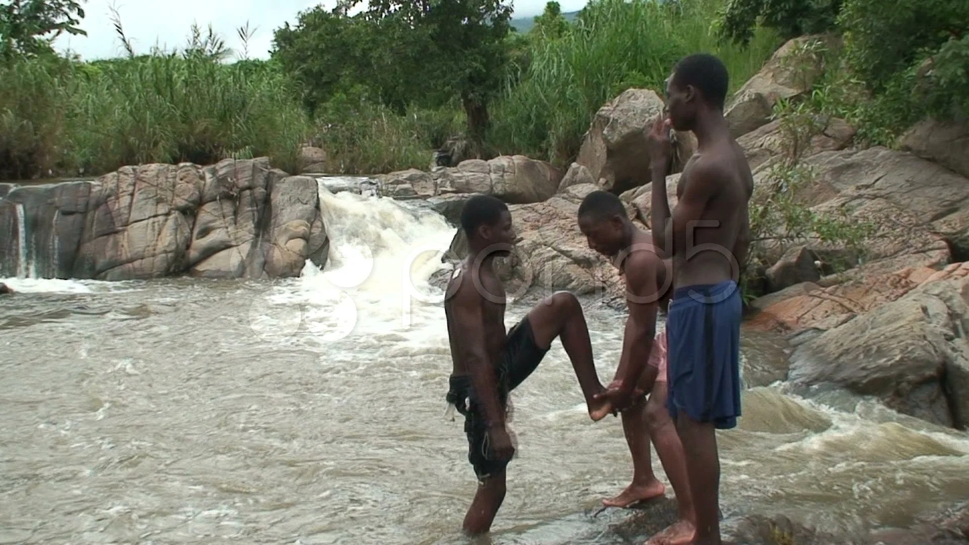 Malawi African Boys In A River 7 Stock Video 745795