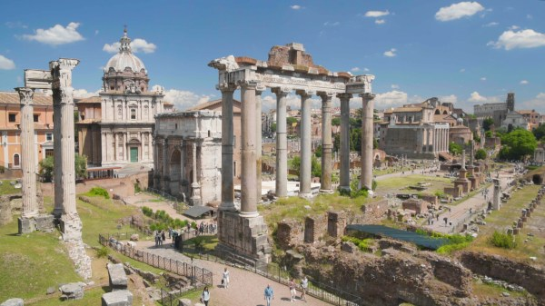 Sightseeing Tour In Roman Forum Museum Rome Ancient Ruins And Buildings Clip #70663952