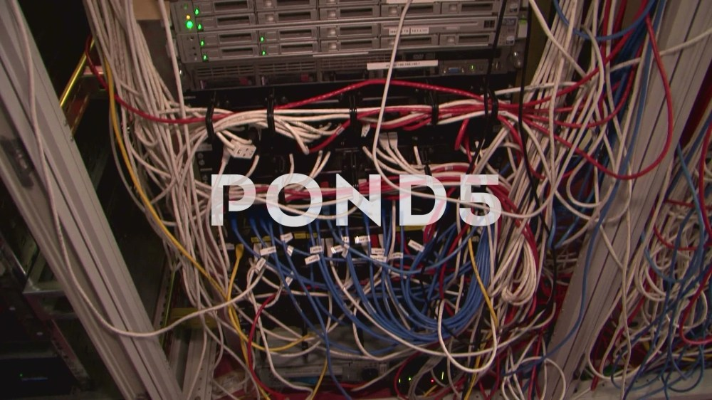 medium resolution of small messy server room in school building lots of cables tangled chaos footage 63081903