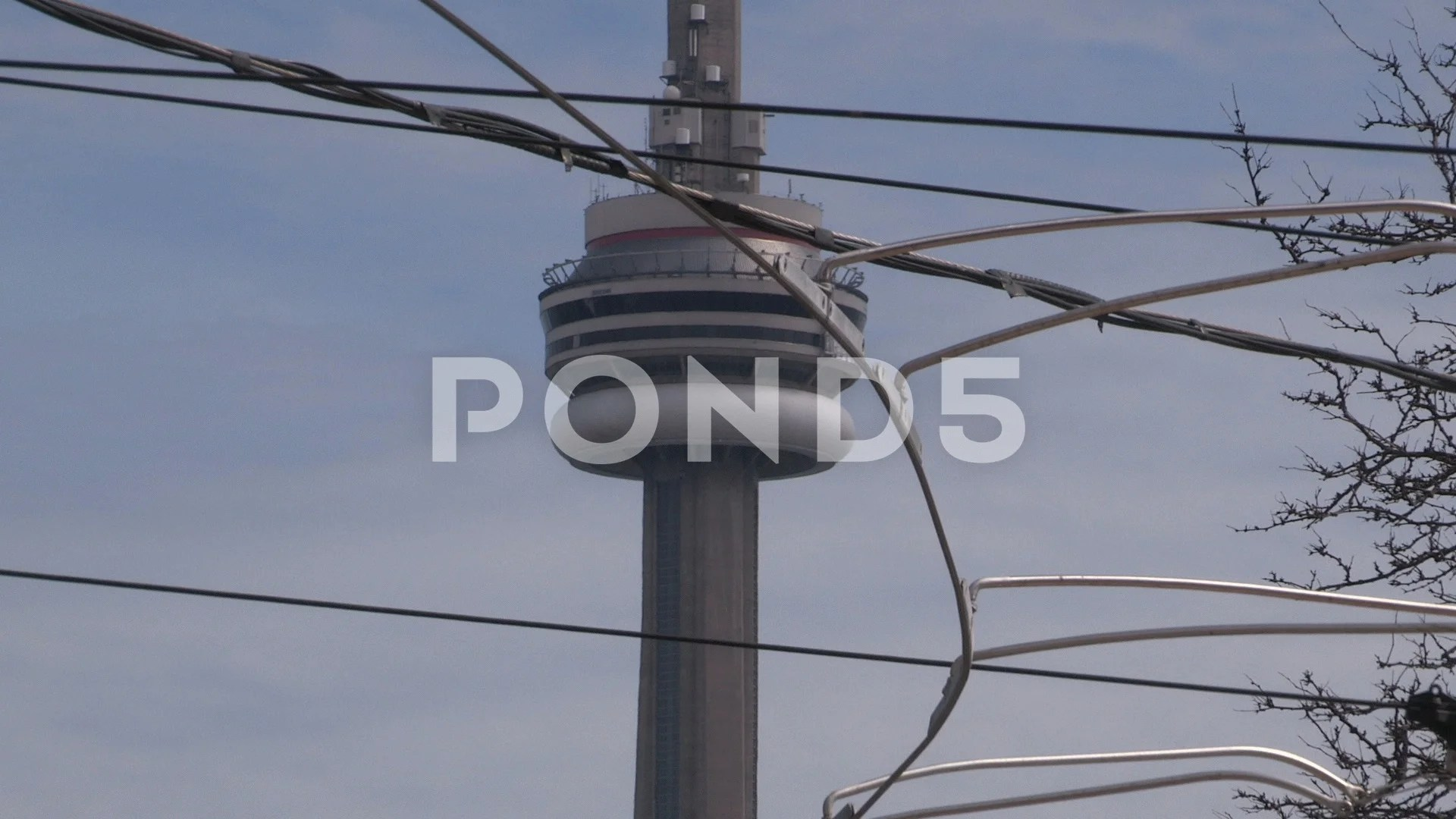 hight resolution of toronto old streetcar wires and cn tower at intersection video 74179050