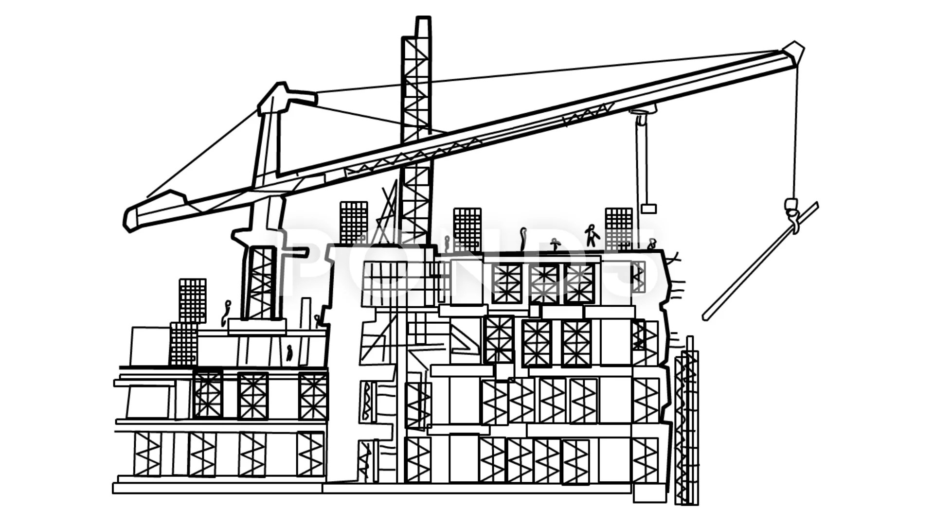 Video Under Construction Building Sketch Animation With
