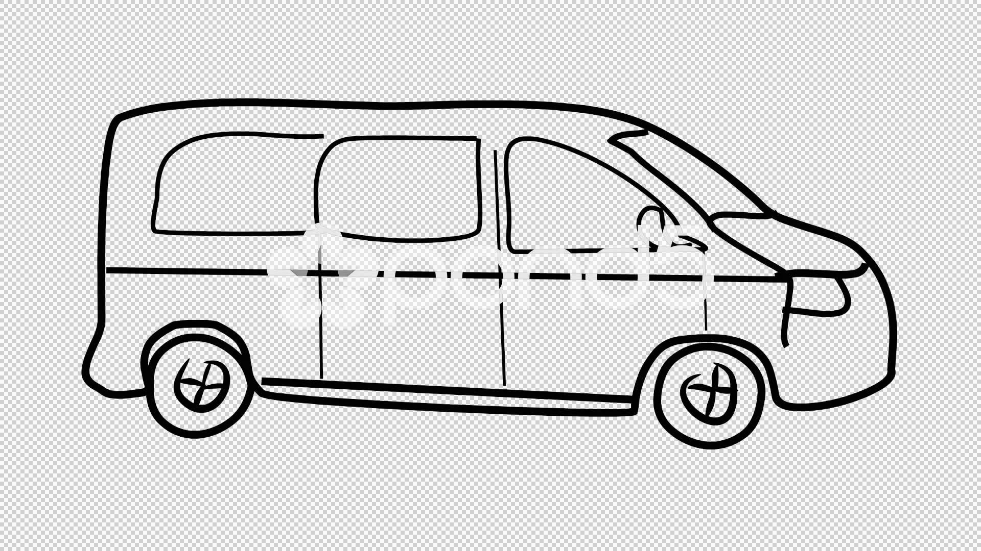 Van Cartoon Illustration Hand Drawn Animation With