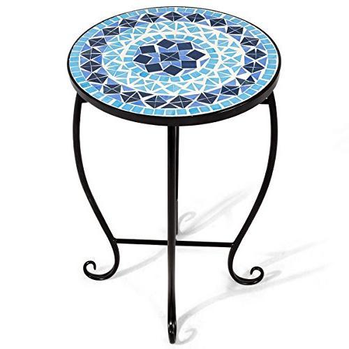yard garden outdoor living items patio table mosaic glass top sea green tiles outdoor furniture accent side end patio garden furniture