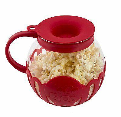 ecolution micro pop microwave popcorn popper 1 5qt temperature safe glass popcorn makers home garden