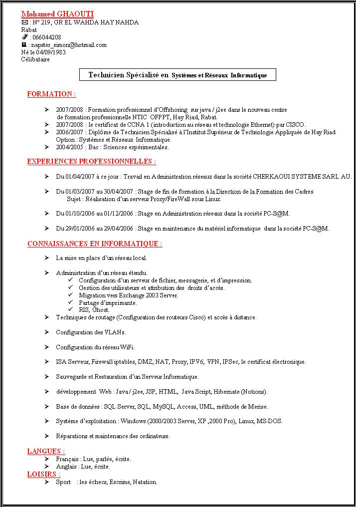 Cv Formation Informatique Reseaux All New Resume Examples