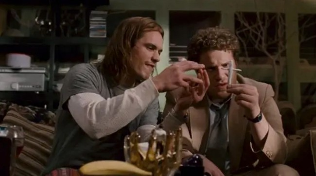 The scence from Pineapple Express where Saul and Dale smoke a cross joint