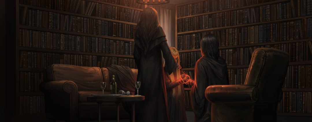 Bellatrix bonds Narcissa and Snape in an unbreakable vow.