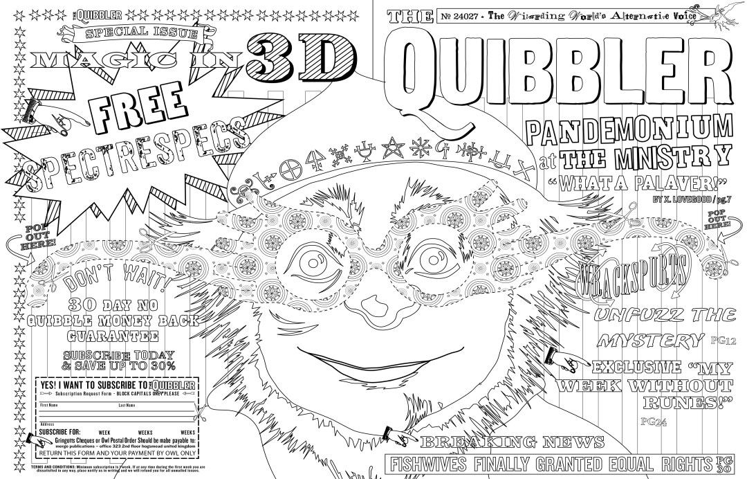Harry Potter Colouring Book Quibbler page