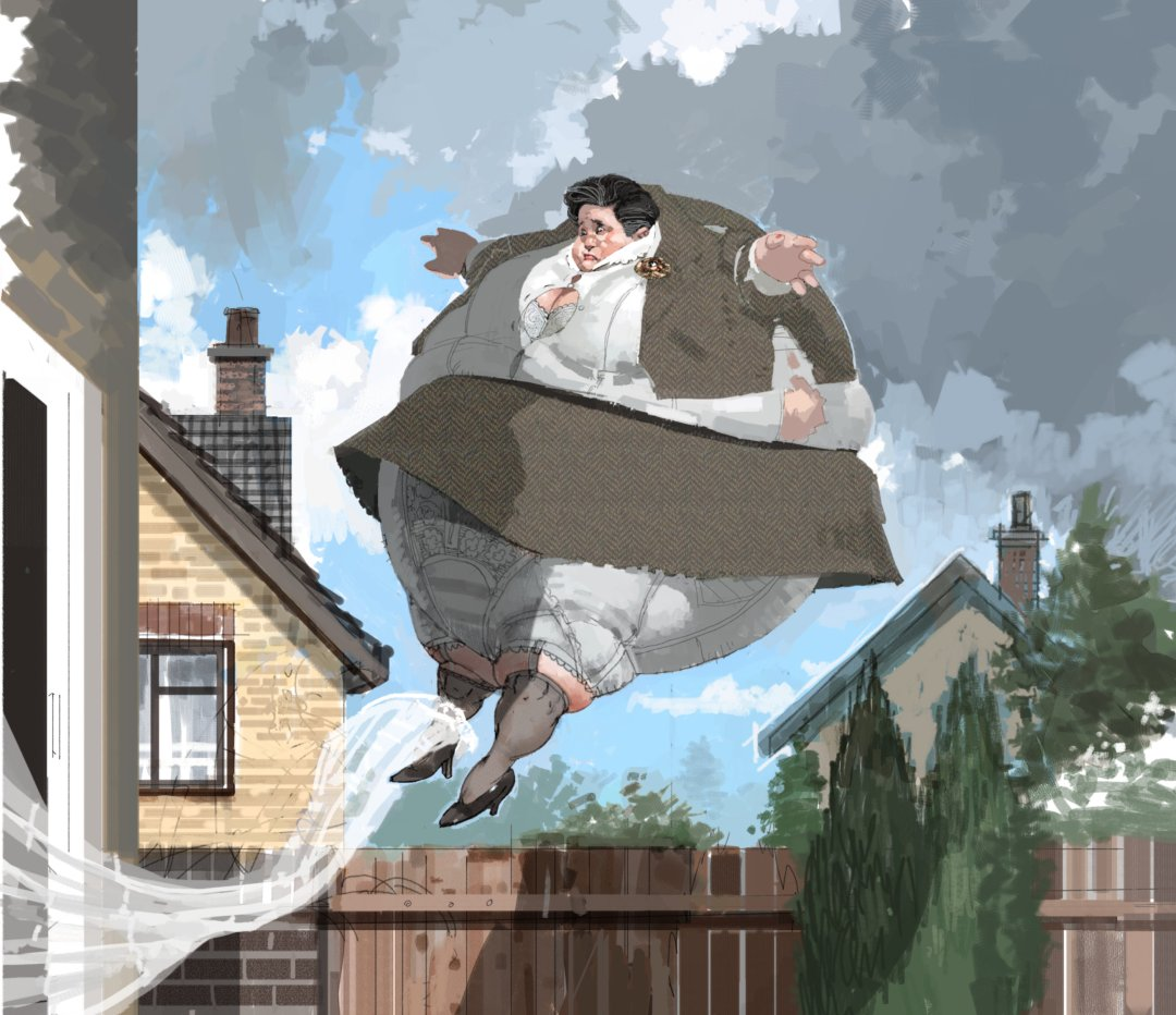 Aunt Marge floating away