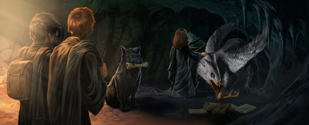 Sirius as the big black dog with Buckbeak in the cave in Hogsmeade.