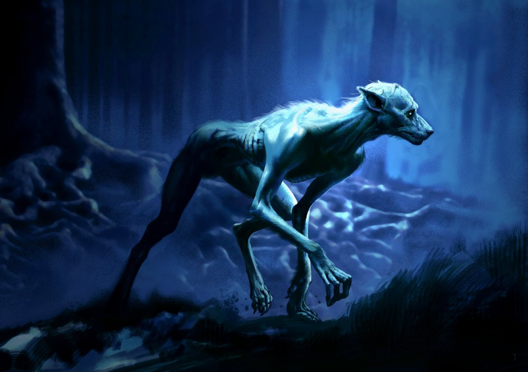 Lupin as a werewolf in the Forest