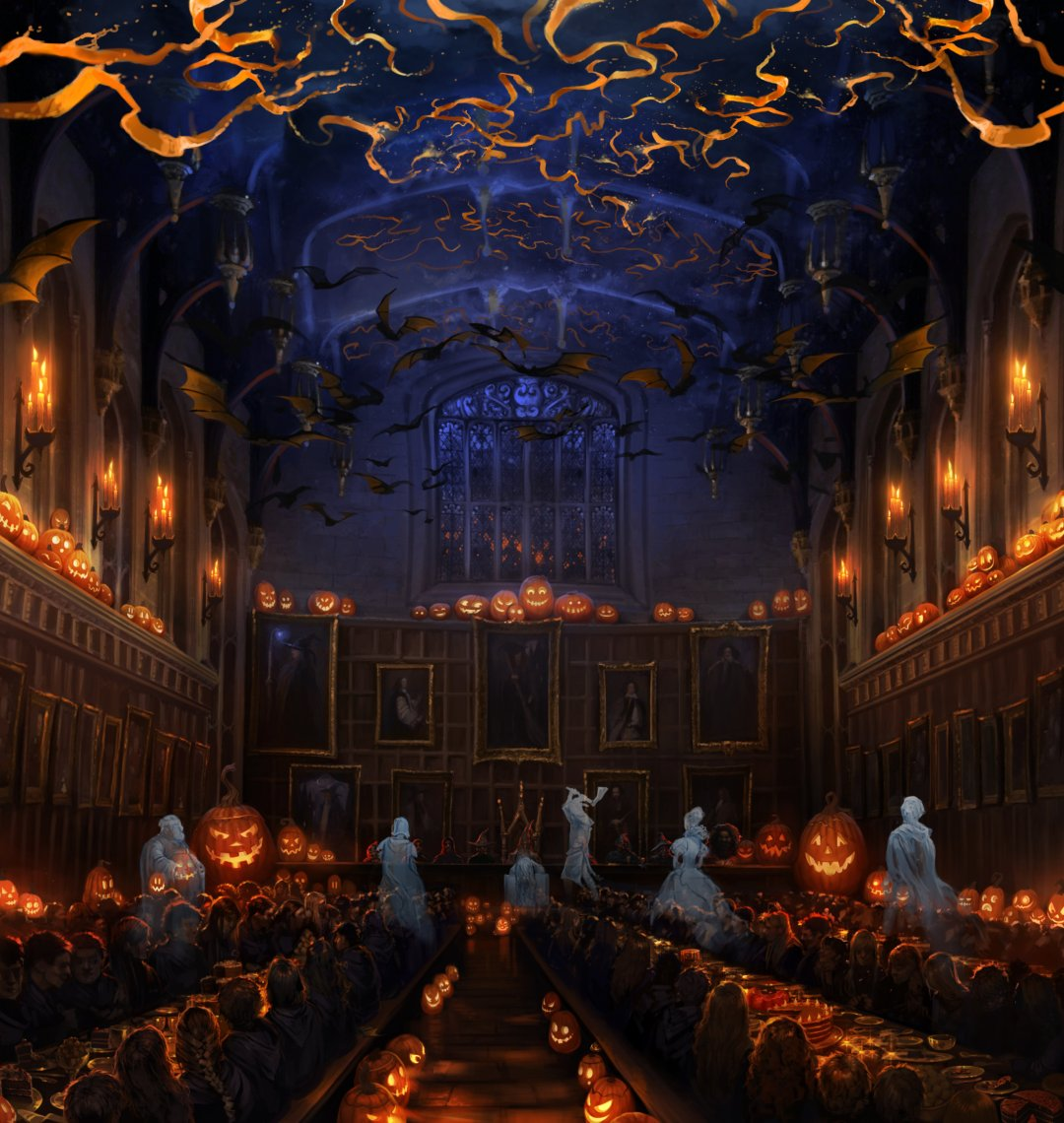 The Great Hall at Halloween with the ghosts