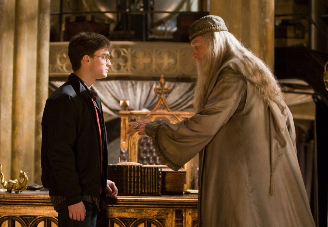 Harry and Dumbledore in his office from the Half Blood Prince