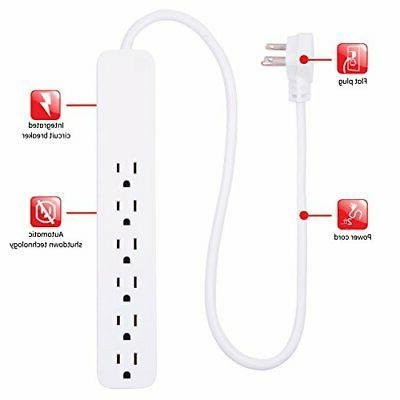GE, White, Strip Surge Protector 2 Pack, 6