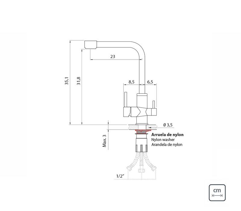 Misturador Monocomando Tramontina em Aço Inox com Bica