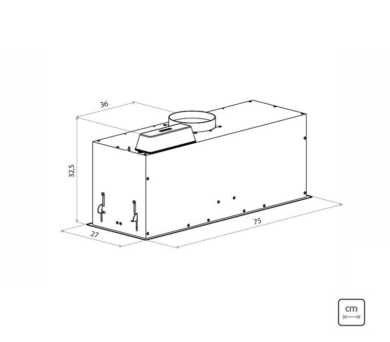 Coifa de Embutir Tramontina Retangular em Aço Inox 75 cm