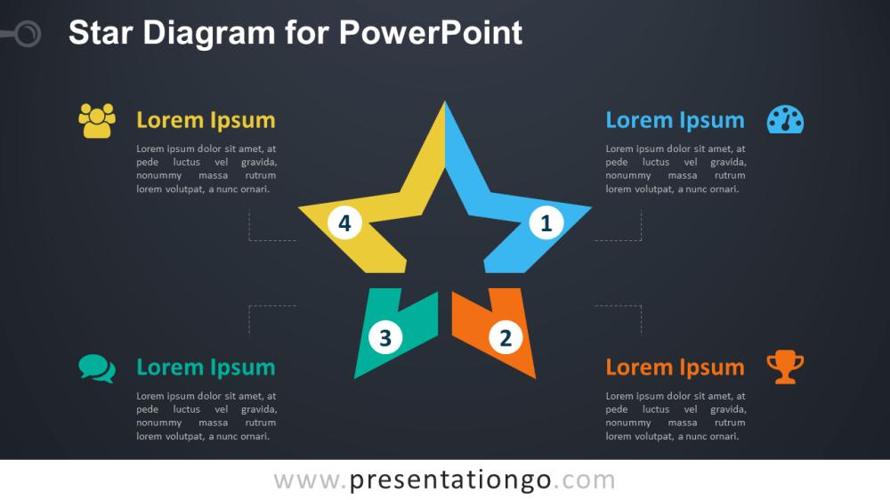 medium resolution of star diagram powerpoint template dark background