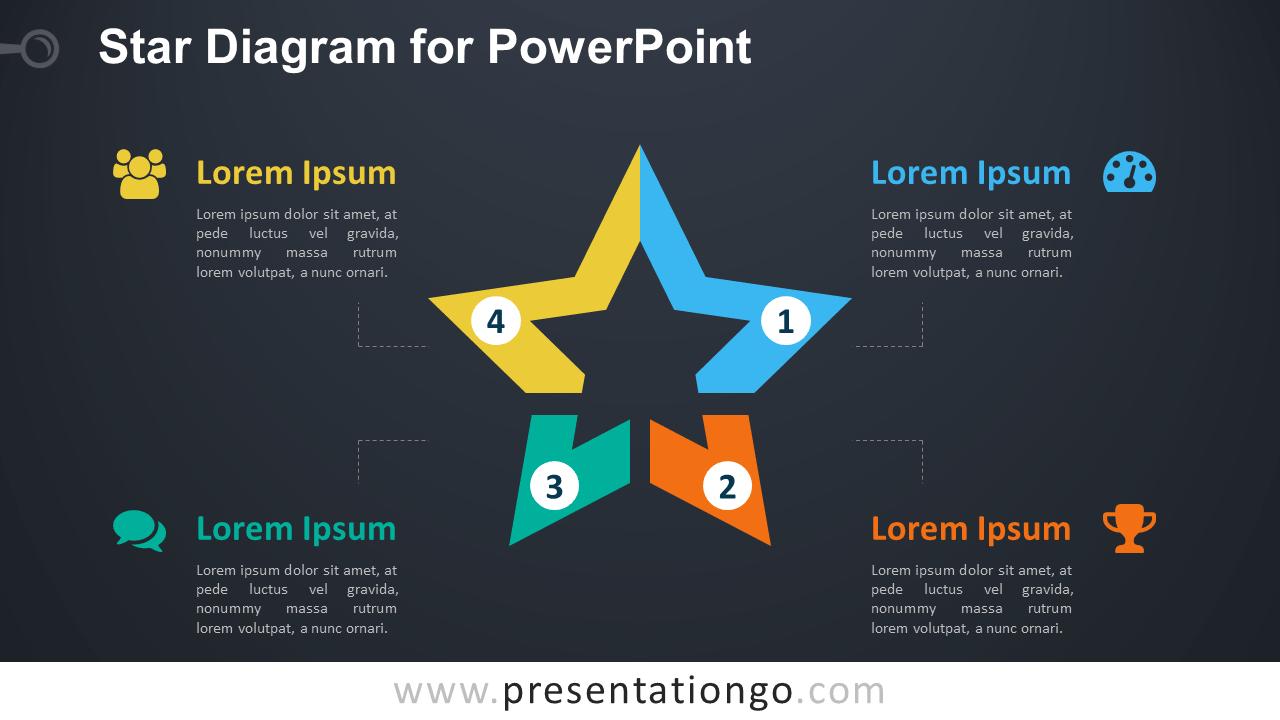 hight resolution of star diagram powerpoint template dark background