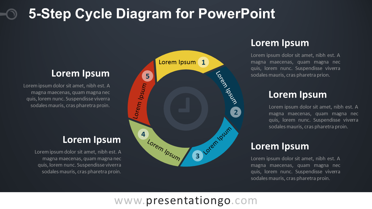 hight resolution of 5 level cycle diagram for powerpoint dark background