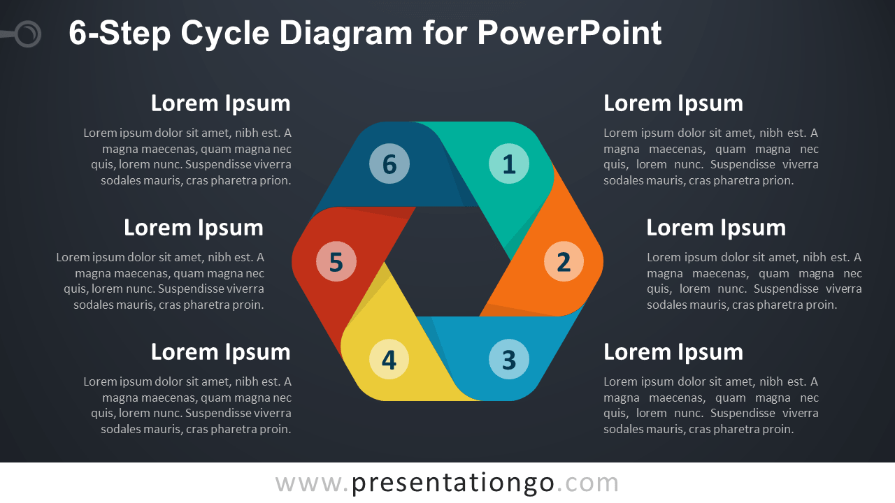 hight resolution of 6 step cycle powerpoint diagram dark diagram